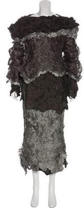 Issey Miyake Metallic Textured Layered Skirt Set