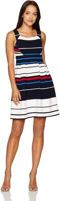 Adrianna Papell Women's Petite Sleeveless Ottoman Stripe Fit and Flare Dress, Blue/Multi, 8P