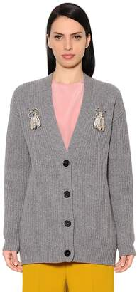 Rochas Embellished Ribbed Knit Cardigan