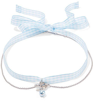 Miu Miu - Gingham Cotton, Silver-tone, Crystal And Faux Pearl Choker - Light blue