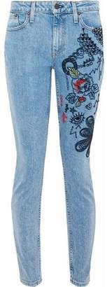 Alice + Olivia Ao.la By Good Embroidered Mid-Rise Skinny Jeans