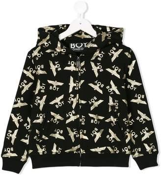Boy London Kids printed hooded bomber jacket