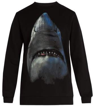 Givenchy Shark Print Cotton Sweatshirt - Mens - Black
