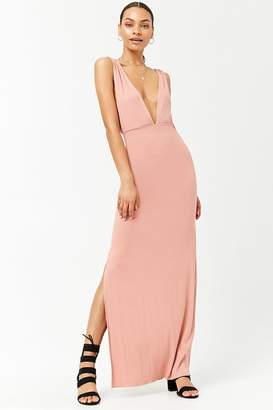 Forever 21 Plunging Ribbed Knit Maxi Dress