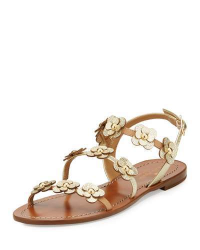 Kate Spade New York Colorado Floral Leather Flat Sandal, Neutral