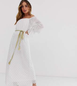 Bardot Tfnc Petite TFNC Petite pleated foiled maxi dress in polka dot fabric