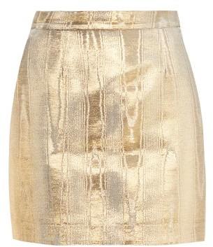 Racil Gina Metallic Moire Mini Skirt - Womens - Gold