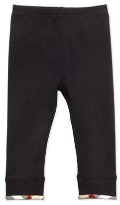 Burberry Infant Girls' Check-Trim Leggings, Black, 6-18 Months