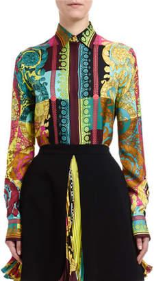 Versace Greca Silk Button-Front Blouse