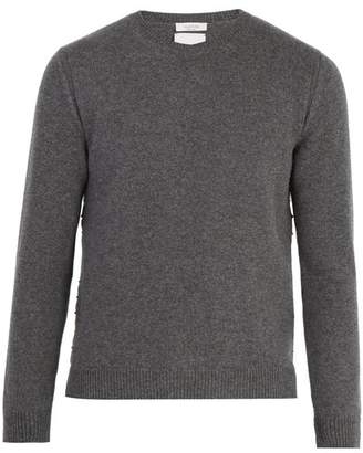 Valentino Rockstud Embellished Cashmere Sweater - Mens - Grey