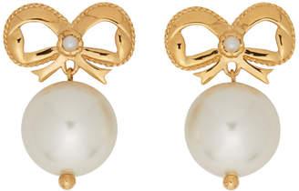 Simone Rocha Gold Bow Pearl Drop Earrings