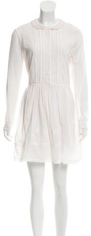 Saint LaurentSaint Laurent Shift Eyelet-Trimmed Dress