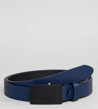 Asos DESIGN PLUS faux leather skinny belt in navy with coated plate