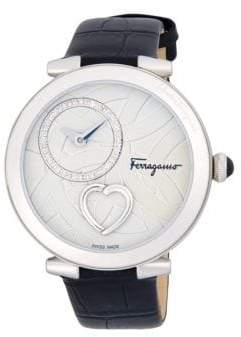 Salvatore Ferragamo Cuore Diamond Stainless Steel Leather Strap Watch
