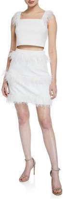Elliatt Coco Two-Piece Crop Top & Skirt Set w/ Feather Trim