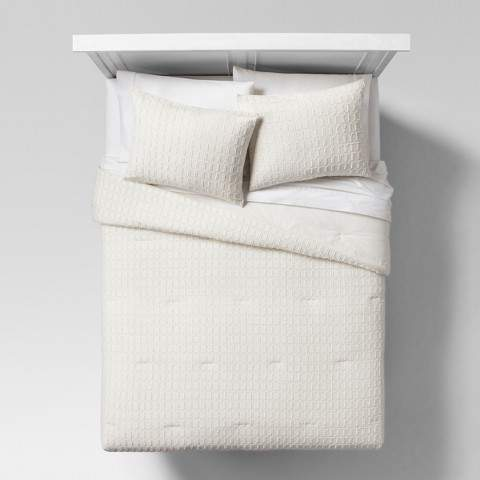 Project 62 Cream Eyelash Grid Comforter & Sham Set