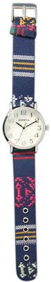MOP OLIVIA PRATT Olivia Pratt Womens Silver-Tone Faux Dial Navy Patterned Fabric Strap Watch 10352Tr
