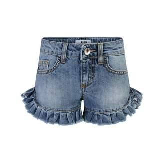 MSGM MSGMGirls Blue Denim Ruffle Shorts