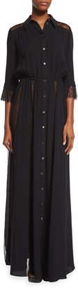 Michael Kors Lace-Inset Button-Front Gown, Black