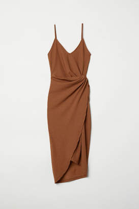H&M Draped Wrap-front Dress - Beige