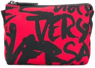 Versace logo printed wash bag