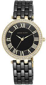 Anne KleinAnne Klein Black Ceramic Watch w/ Crystal Studded Bezel