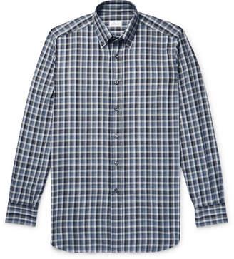 Brioni Button-Down Collar Checked Cotton-Twill Shirt