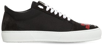 Joshua Sanders EMBROIDERED CANVAS & SUEDE SNEAKERS