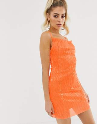 6536f0958e9 Club L London sequin cowl front mini bodycon dress in neon orange