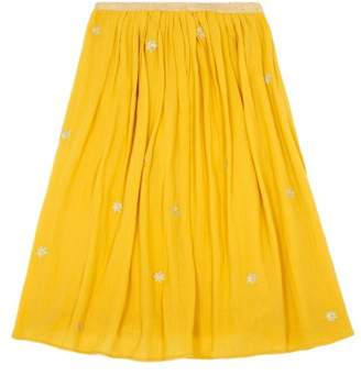 Des Petits Hauts Eglae Gold Star Crepon Maxi Skirt