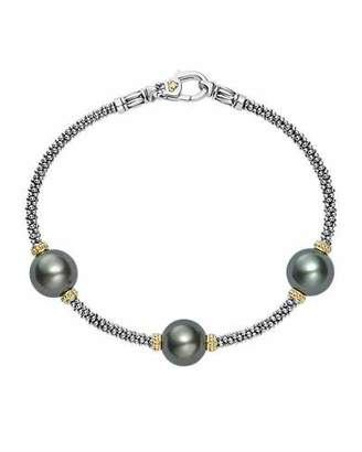 Lagos Luna Sterling Silver & 18K Rope Bracelet with Black Tahitian Pearls