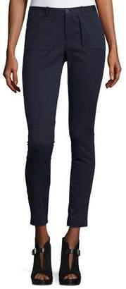ATM Anthony Thomas Melillo Skinny Stretch Twill Moto Pants, Midnight $325 thestylecure.com