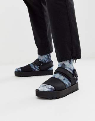 Asos Design DESIGN sandals in black with chunky sole and tech straps