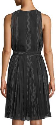 Diane von Furstenberg Ria Sleeveless Scalloped Chiffon Dress