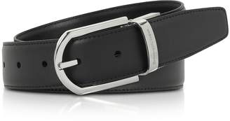 Ermenegildo Zegna Black Smooth Leather Adjustable Belt w/Signture Buckle