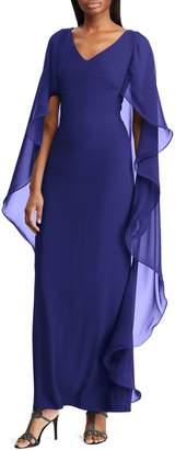 Lauren Ralph Lauren Cape-Overlay Chiffon Column Gown