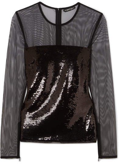 TOM FORD - Sequined Tulle Top - Black