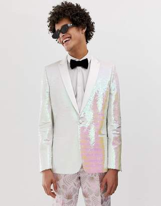 Asos Edition EDITION skinny white sequin blazer