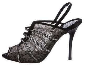 Rene Caovilla Lace Slingback Sandals