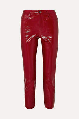 J Brand Ruby Cropped High-rise Slim-leg Patent-leather Jeans - Red