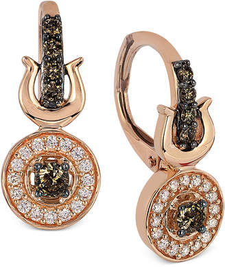 Le Vian Chocolatier® Chocolate and White Diamond Drop Earrings (3/8 ct. t.w.) in 14k Rose Gold $2,401 thestylecure.com