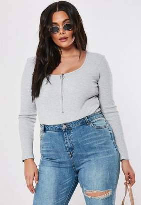 Missguided Plus Size Gray Ribbed Zip Front Bodysuit