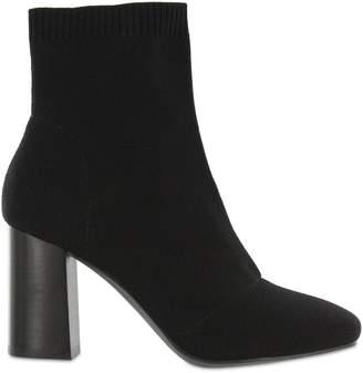 Mia Stacked Heel Pull-On Fabric Booties - Rebeka