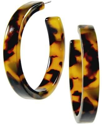 Taolei 50mm Brown Marble Open Hoop Earrings