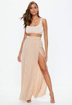 Missguided Champagne Double Split Maxi Skirt