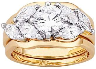 Generic Gold-Plated Brilliant Round and Marquise CZ Wedding Ring Set, 3-Piece