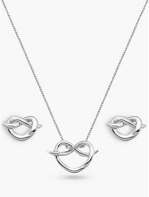 At John Lewis Hot Diamonds Twist Heart Pendant Necklace And Stud Earrings Gift Set Silver