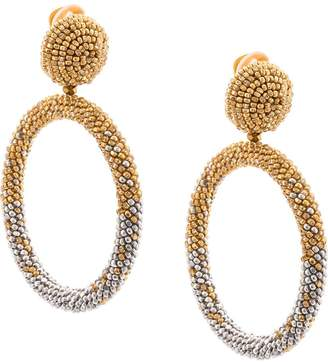 Oscar de la Renta beaded drop hoop earrings