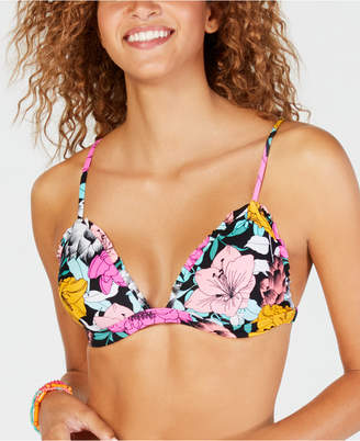 Macy's Hula Honey Flowervescent Printed Ruffle Molded Push-Up Bikini Top, Created for