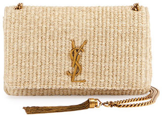 Saint Laurent Kate Monogram Medium Raffia Chain Shoulder Bag, Neutral $1,990 thestylecure.com